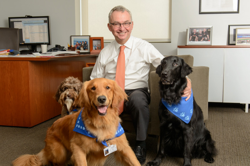 Pictured: Jose Baselga with MSK Caring Canines