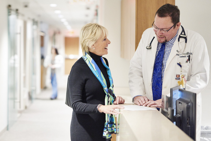 Memorial Sloan Kettering medical oncologist and leukemia expert Renier Brentjens with a patient