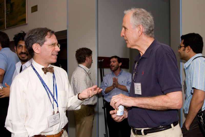Memorial Sloan Kettering Clinical Genetics Service Chief Kenneth Offit (left) talks with Peter Besmer, a member of Sloan Kettering Institute's Developmental Biology Program