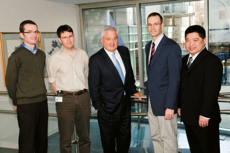 Recipients of the Louis V. Gerstner, Jr. Young Investigators Fund, pictured with Mr. Gerstner. (From left) Iestyn Whitehouse, Hans-Guido Wendel, Mr. Gerstner, Stephen Long, and Timothy Chan.