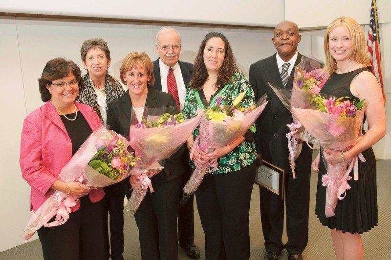 (From left) Lynn Adams, Samuel and May Rudin Foundation President Beth Rudin DeWoody, Debra Havranek, Nurse Practitioner Clinical Program Director Dennis Graham, Jerelyn Osoria-Julien, Joel Lloyd, and Jacquelyn Burns