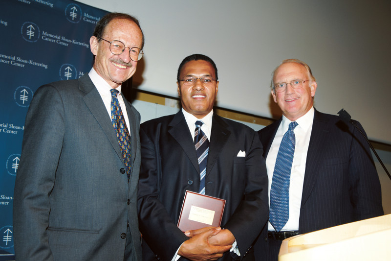 (From left) Memorial Sloan Kettering President Harold Varmus; Convocation keynote speaker Freeman Hrabowski; and Chairman of the Memorial Sloan Kettering Boards of Overseers and Managers Douglas Warner