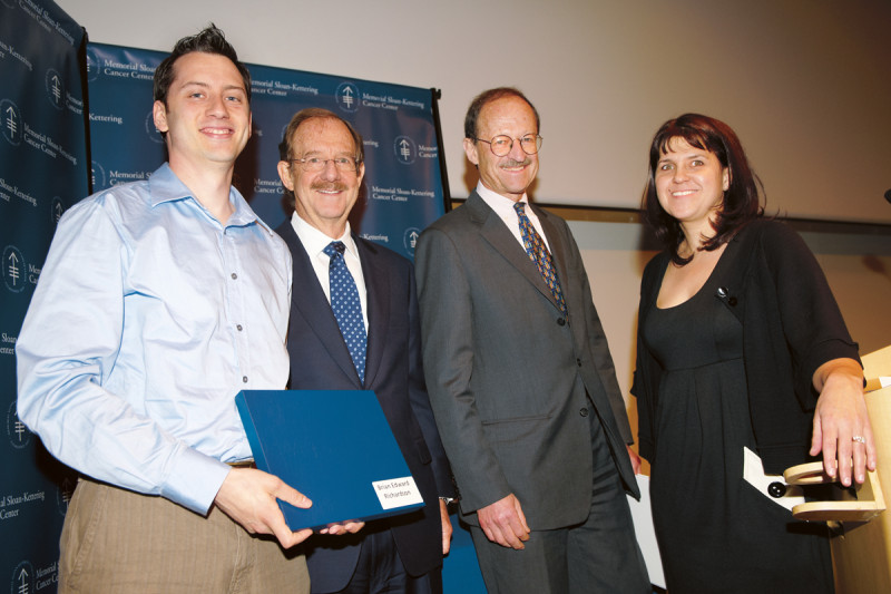(From left) PhD recipient Brian Edward Richardson, SKI Director Thomas Kelly, Memorial Sloan Kettering President Harold Varmus, and faculty mentor Mary Baylies