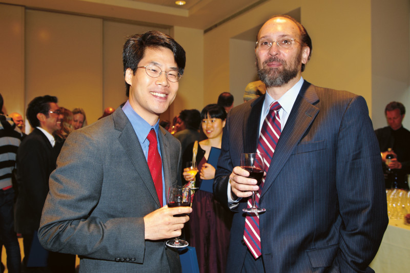 Developmental biologist Eric Lai, winner of the Boyer Basic Research Award, with Molecular Biology Program Chair and Director of Graduate Studies Kenneth Marians
