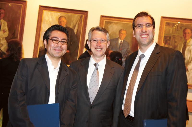 Faculty mentor Joan Massagué (center) with PhD recipients Claudio Alarcon (left) and David Miguel Padua