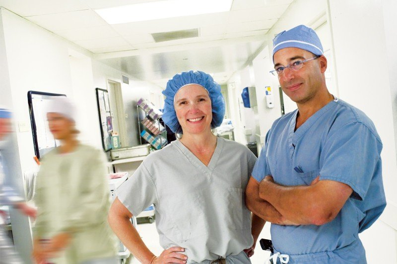 Breast surgeon Alexandra Heerdt with plastic and reconstructive surgeon Joseph Disa.