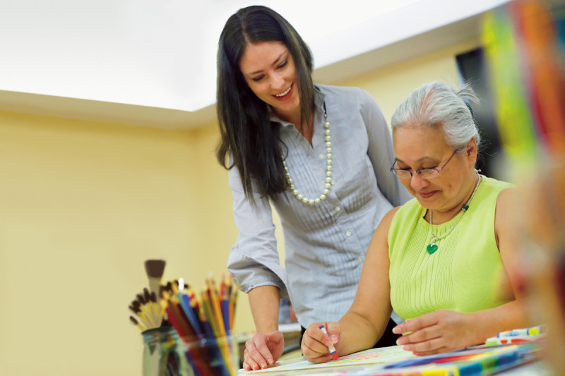 The breast center addresses the needs of the entire patient with services that include art therapy.
