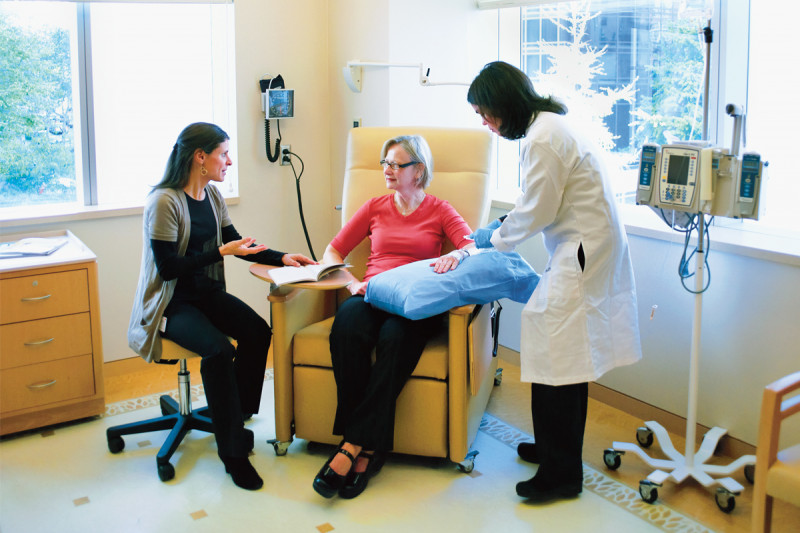 Twenty private treatment suites are large enough to allow patients to have consultations with nutritionists and other breast center healthcare professionals while receiving chemotherapy, and can also accommodate family members and friends.