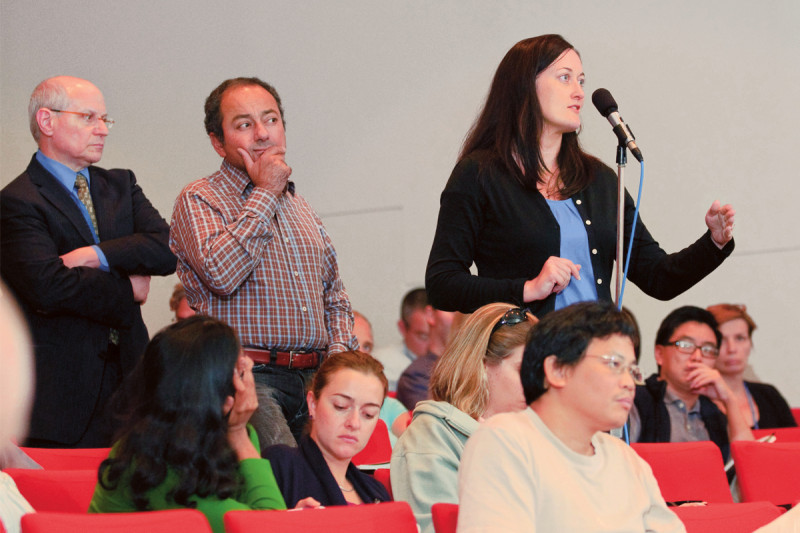 Memorial Sloan Kettering investigators ask questions during the symposium
