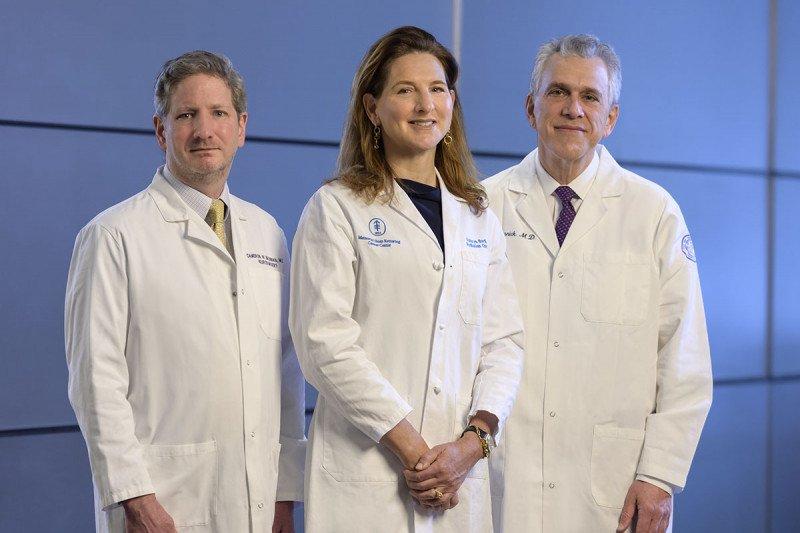 Neurosurgeon Cameron Brennan, radiation oncologist Kathryn Beal, and neurologist Samuel Selesnick
