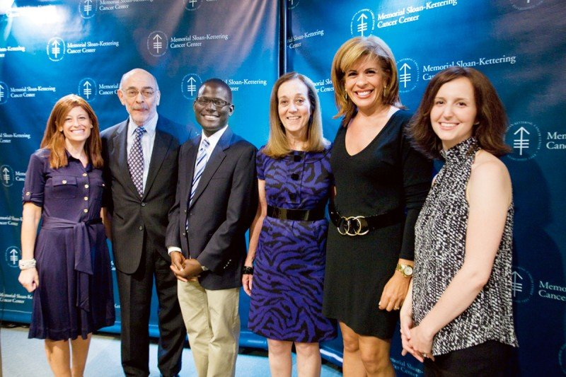 (From left) Jennifer Goodman Linn (Founder, Cycle for Survival), Robert Wittes, Duane Bailey-Castro, Mary McCabe, Hoda Kotb, and Samantha Eisenstein Watson.