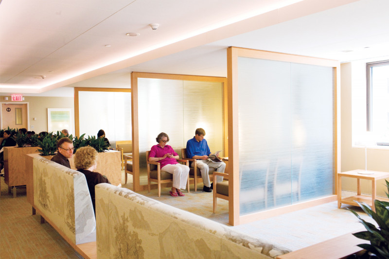 The Mr. and Mrs. Peter O. Crisp family waiting area accommodates 75 patients and caregivers.