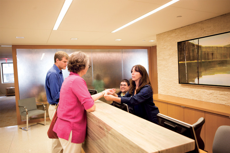 Patients are greeted in the Donna and Benjamin M. Rosen reception area.