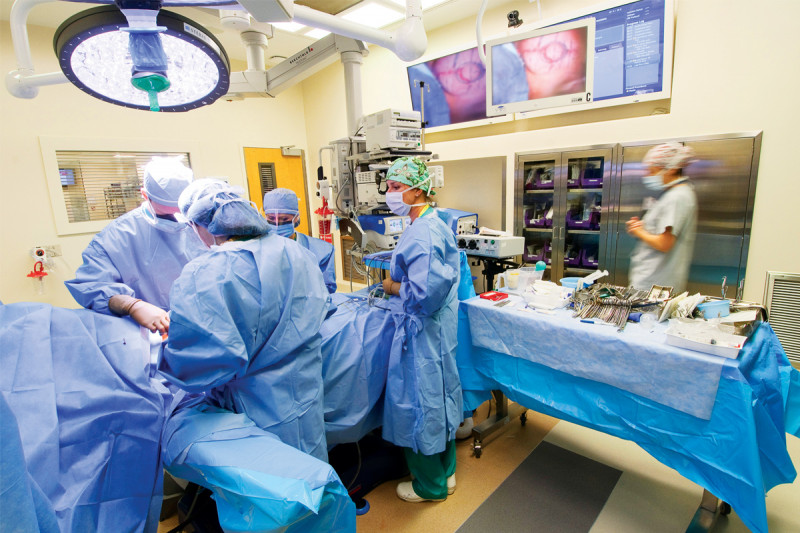 "The Surgical Day Hospital's seven new operating rooms are equipped with ceiling mounted ""booms"" supplying oxygen, anesthesia, and suction, as well as the flat-panel ""Walls of Knowledge,"" which provide patient data and offer videoconferencing capabilities with other operating rooms."