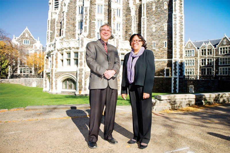 The Partnership's co-Principal Investigators Tim Ahles and Karen Hubbard on the campus of The City College of New York in Upper Manhattan