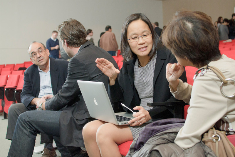 Speaker Elly Tanaka with a guest following the symposium