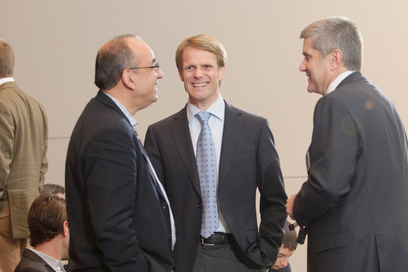 Speaker Ronald McKay of Johns Hopkins School of Medicine with Lorenz Studer and Memorial Sloan Kettering Cancer Center President Craig Thompson