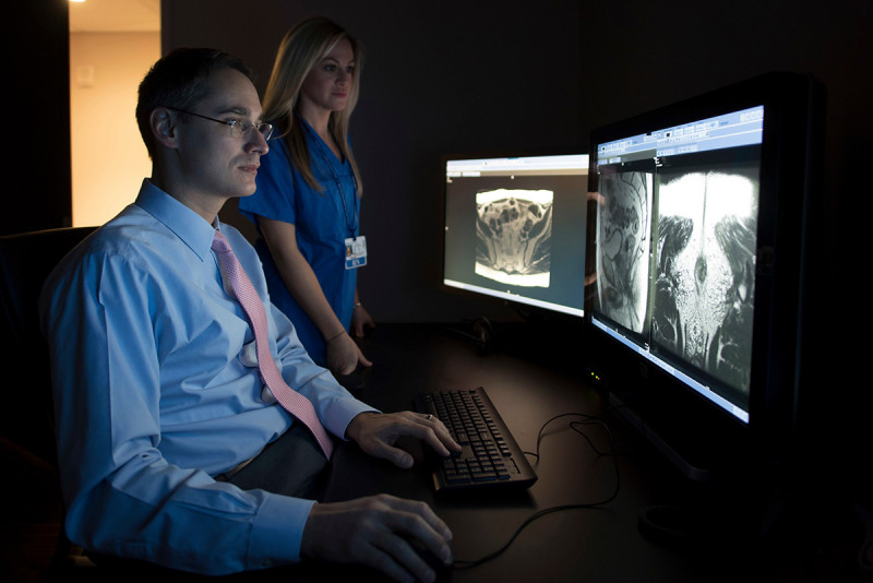 MSK radiologist reviews imaging scans