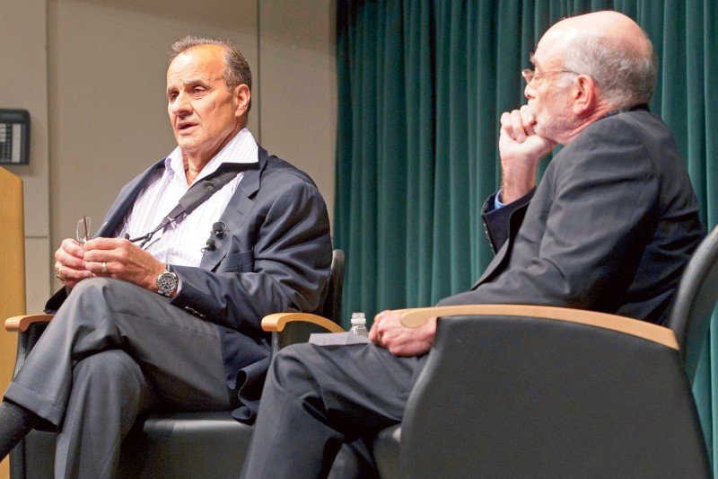 Joe Torre (left) chats about his prostate cancer experience with Robert Wittes at the Memorial Sloan Kettering survivorship celebration.