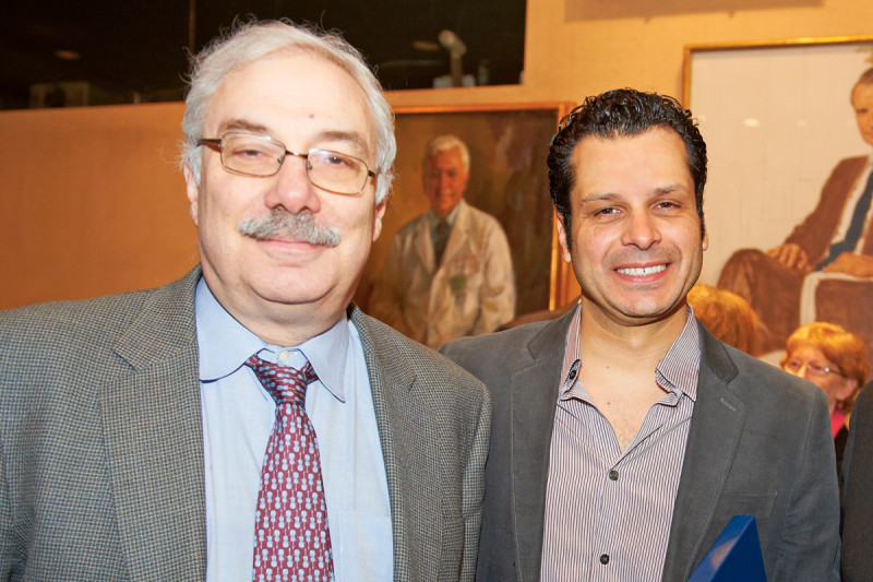 Medical oncologist and researcher Neal Rosen (left) with his mentee and Postdoctoral Research Award winner, Poulikos Poulikakos.