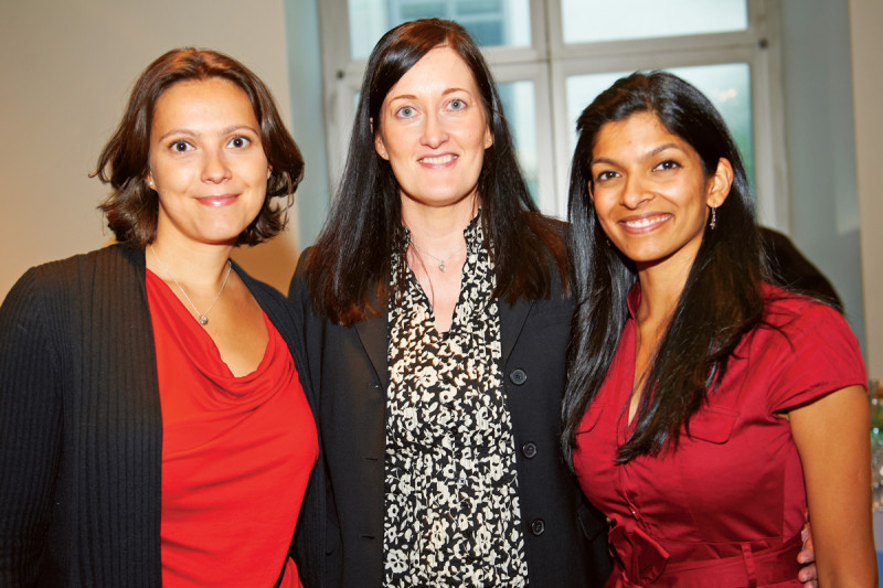 PhD recipients Vasilena Gorcheva (left) and Tanaya Shree (right) with their faculty mentor, cancer biologist Johanna Joyce (center).