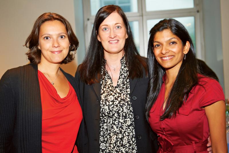 PhD recipients Vasilena Gorcheva (left) and Tanaya Shree (right) with their faculty mentor, cancer biologist Johanna Joyce (center).