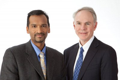 Arul Chinnaiyan (left) of the University of Michigan and MSK's Charles Sawyers