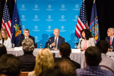 "Vice President Joe Biden led a roundtable ""cancer moonshot"" discussion at Memorial Sloan Kettering"