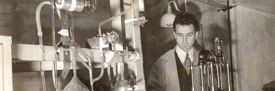 Man working at radon gas capture apparatus at Memorial Hospital.