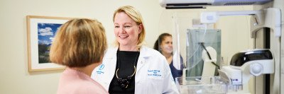 MSK Chief of Breast Imaging Elizabeth Morris and a patient