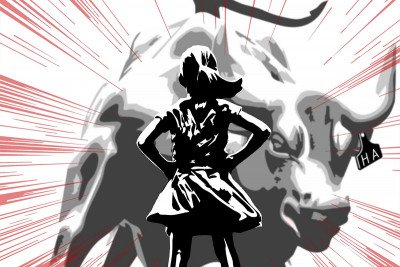 Illustration of girl standing in front of charging bull