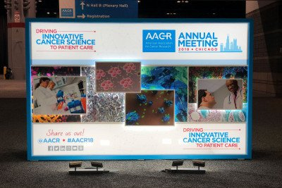 Sign for AACR scientific meeting featuring collage of images