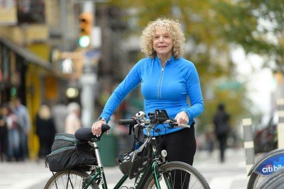 MSK patient Margie Goldsmith with her bike