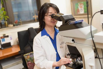 MSK pathologist Jinru Shia looks through a microscope