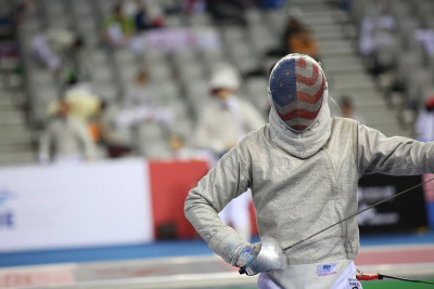 Gabe Armijo in full fencing gear