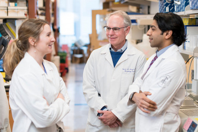 MSK cancer researchers Elizabeth Adams, Charles Sawyers, and Rohit Bose