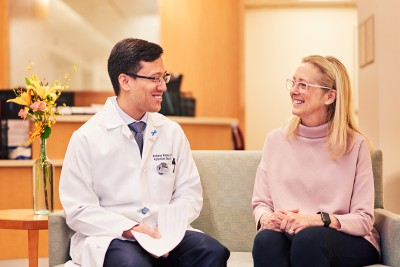 Memorial Sloan Kettering radiation oncologist Andreas Rimner with a patient