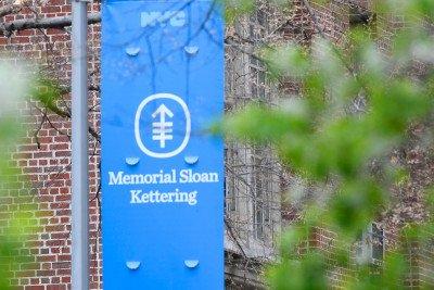 Blue flag with Memorial Sloan Kettering logo