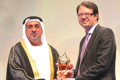 Pictured: His Highness Sheikh Sultan Bin Khalifa Bin Zayed Al Nahyan & Michel Sadelain