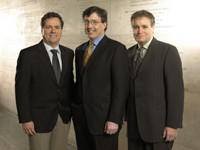 (From left) Scott Lowe, Tyler Jacks, and Jeff Wrana were the 2005 winners of the Paul A. Marks Prize for Cancer Research.