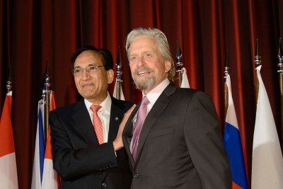 Pictured: Jatin Shah and Michael Douglas