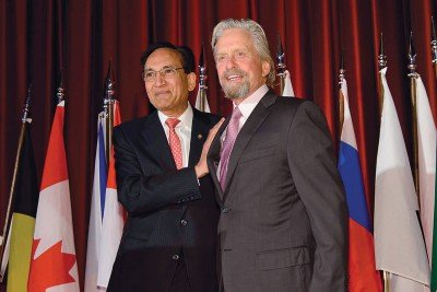 Pictured: Jatin Shah & Michael Douglas