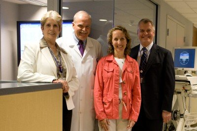 (From left) Nurses Lorraine McEvoy, Dennis Graham, Pamela Ginex, and David Rice all earned their doctoral degrees in 2008 and work with their colleagues to advance nursing practice at Memorial Sloan Kettering.