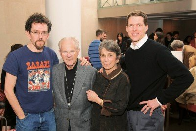 Filmmakers Richard and Carole Rifkind (center) at the MSKCC screening flanked by two of the scientists in their documentary, Robert Townley (left) and Kilpatrick Carroll.
