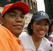 Andrea and her brother at a NY Mets game