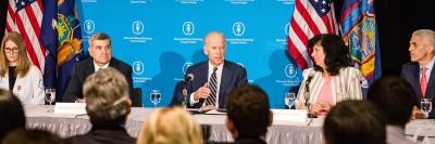 "Vice President Joe Biden led a roundtable ""cancer moonshot"" discussion at Memorial Sloan Kettering"