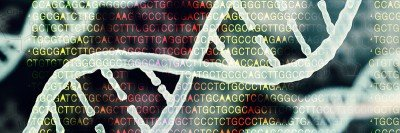 Image of DNA helix with sequence in the background