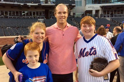 Terri Leno with her sons and New York Mets pitcher Noah Syndergaard