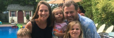 MSK colorectal cancer patient Katie Rich with her familly