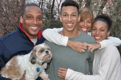 Kristin (rear), with husband Derek, children Sydney and Reece, and dog Lilly.
